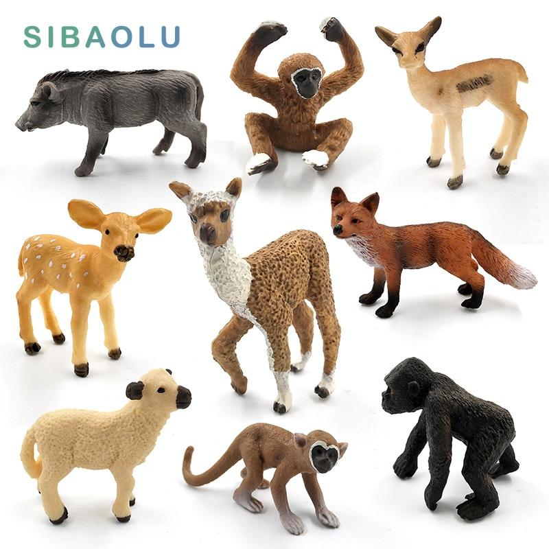 Simulation cute animal model figurine Mini Alpaca Warthog Chimpanzee Sheep Deer Fox Antelope Monkey Gibbon fairy home decor toys figurine
