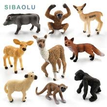 Simulation cute animal model figurine Mini Alpaca Warthog Chimpanzee Sheep Deer Fox Antelope Monkey Gibbon fairy home decor toys
