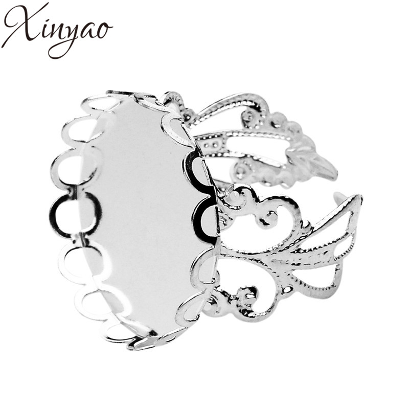 10pcs Silver Color Copper Hollow Flower Adjustable Blank Open Ring Base Tray Round Dia 20mm Cabochon Setting Cameo Bezel K0611