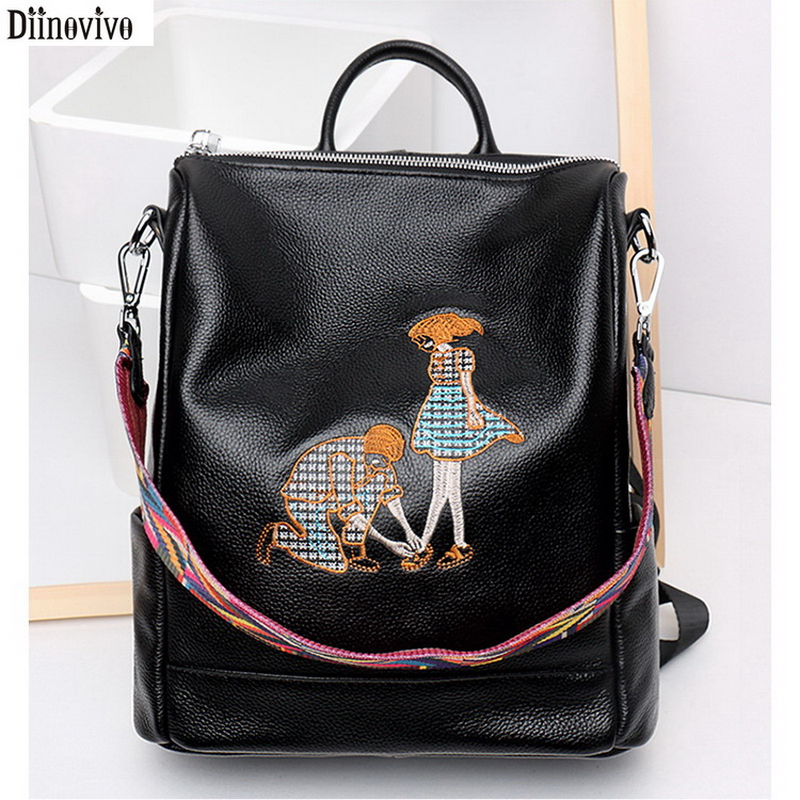 Diinovivo Brand Women Genuine Leather Backpacks Female School Bags For Girls Rucksacks Embroidery Personality Bagpacks DNV0859