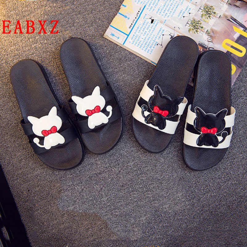 42669be7519b74 EABXZ Cute kitten cartoon home bathroom slip soft bottom slippers Fashion  Pu Leather Beach Shoes Women