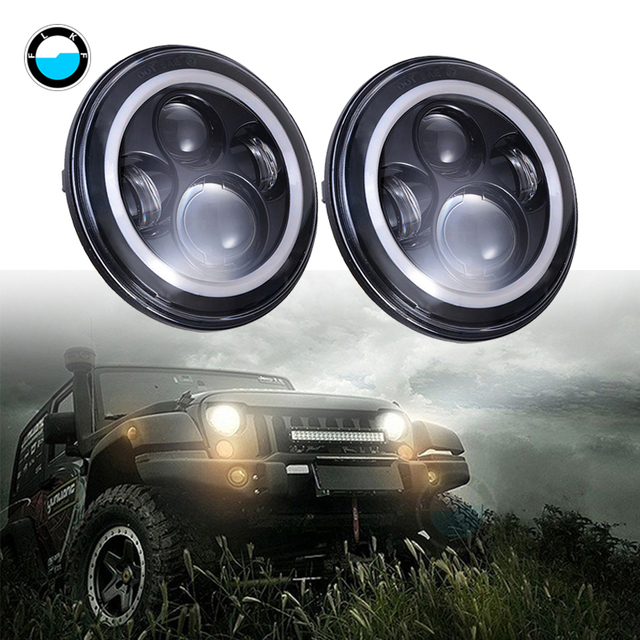 """Pair 7Inch 40W H4 LED Headlights Lamp With Angle Eyes for Jeep Led Head Lamp Bulbs Dipped & High Beam 7"""" Round Headlamp"""