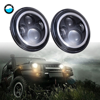 Pair 7Inch 40W H4 LED Headlights Lamp With Angle Eyes for Jeep Led Head Lamp Bulbs Dipped 7 Round Headlamp