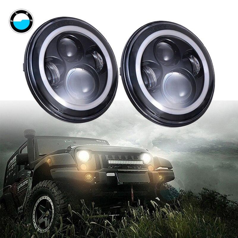 Paire 7 pouces 40 W H4 LED phares lampe avec yeux d'angle pour Jeep LED phares ampoules trempées 7