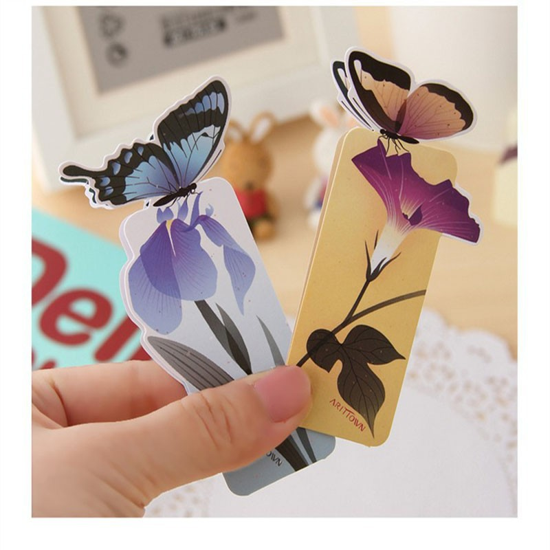 12 Pcs/lot Kawaii 3D Butterfly Bookmarks Beautiful Birthday/Christmas Gift Books Mark Paper Page Holder Office School Stationery