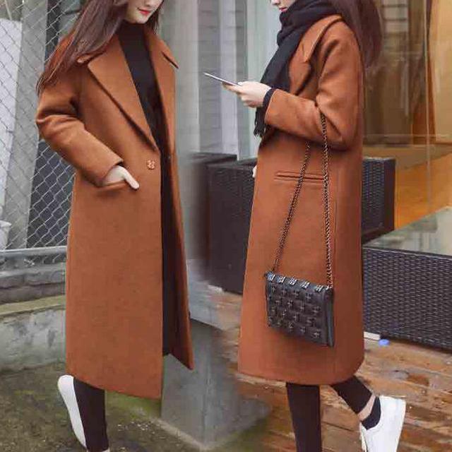 2018 зима шерсть Пальто Для женщин длинный тонкий Сгущает Теплый шерстяной Пальто для будущих мам плюс Размеры 2XL