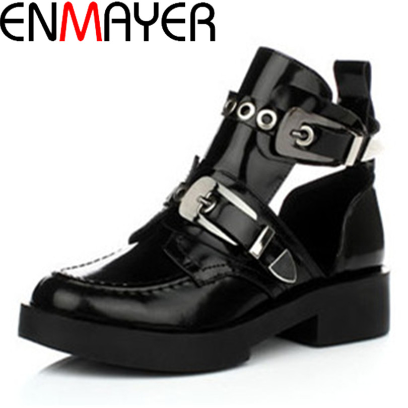 ФОТО ENMAYER Genuine Full Grain Leather Buckle Cut Out Women Punk Ankle Sale Motorcycle Boots Gladiator Shoes Woman Martin Boots