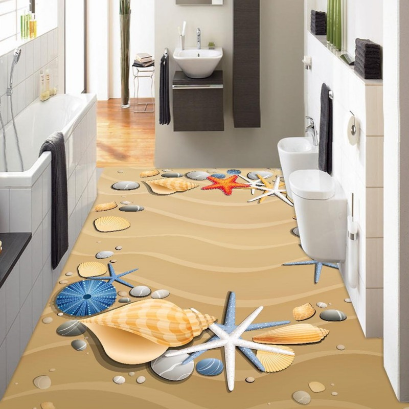 Free shipping Hand-painted beach shellfish starfish 3D floor custom living room bathroom self-adhesive photo wallpaper flooring