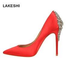 Lakeshi женские туфли-лодочки свадебные туфли модные, пикантные высокий каблук женщин Кристалл шпильках