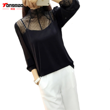 Casual Fashion Sexy High-necked Lace Stitching Bottoming Shirt 2016 Autumn Women's New Long-Sleeved T-shirt Gauze Chiffon Gown