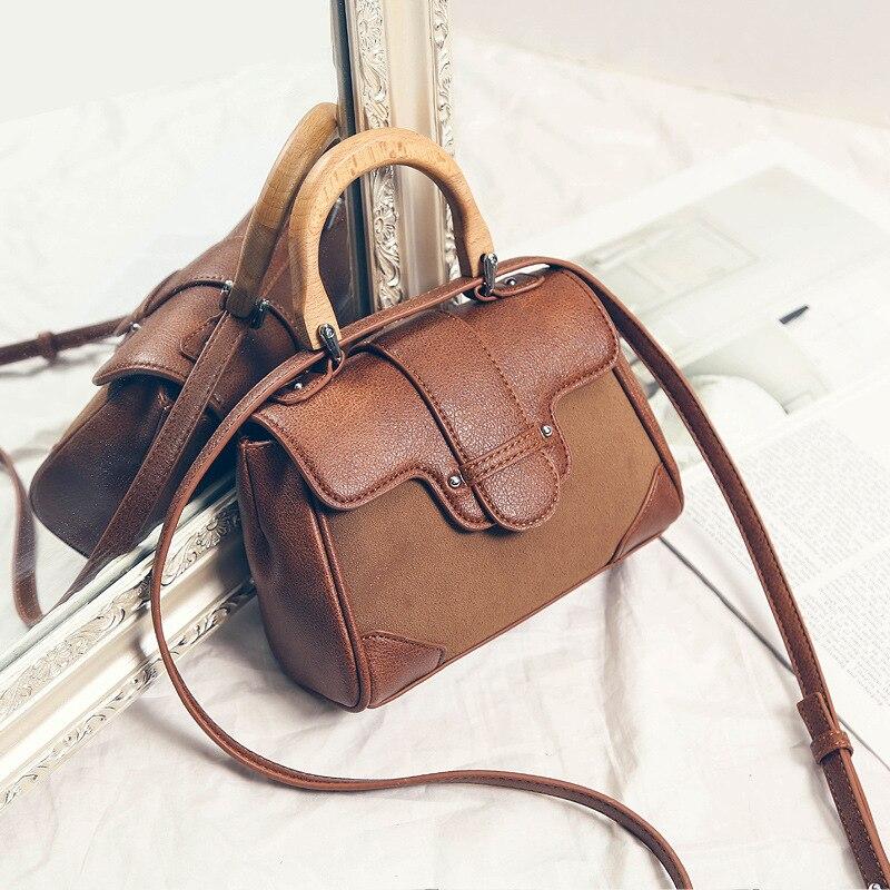 aaa8d6dc8b1f Новинка 2018 года Женские замшевые квадратный сумка маленькая для женщин  деревянный сумки на плечо бамбуковой ручкой