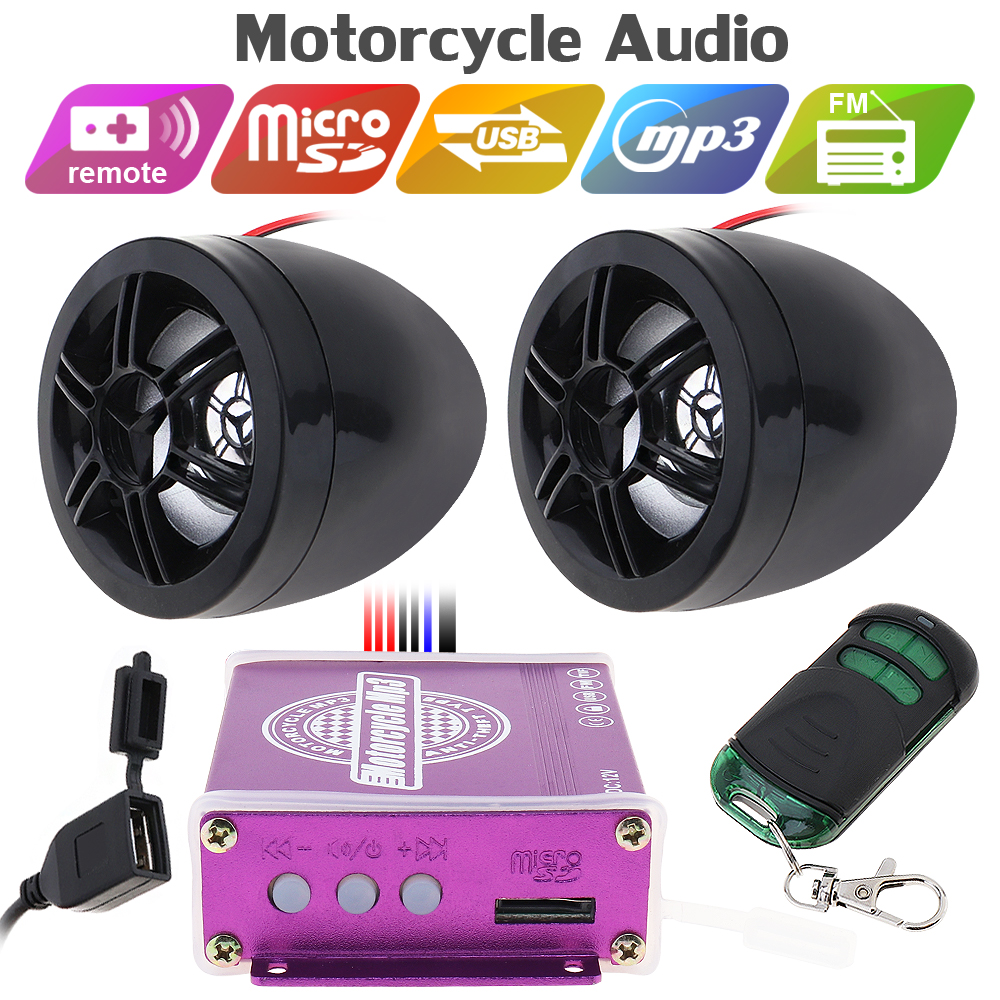 12V 50W Motorcycle Speaker Waterproof Anti-theft Sound MP3 Player with Display Screen for Motorcycle and Music Player