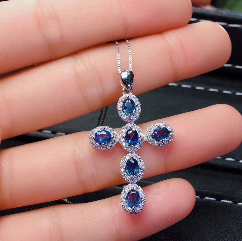 Natural gem stone pendant S925 silver Natural blue sapphire Pendant Necklace trendy Elegant lovely Cross women