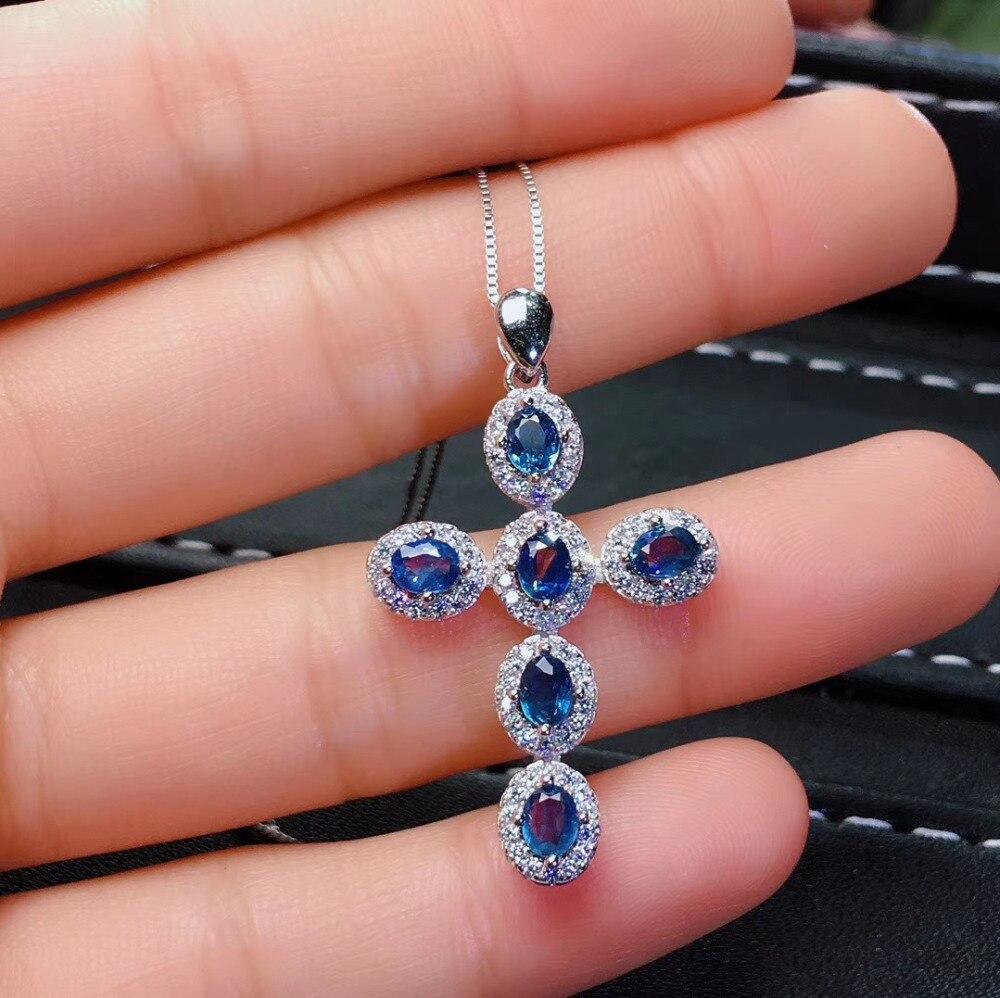อัญมณีธรรมชาติหินจี้ S925 เงินธรรมชาติสีฟ้าไพลินจี้สร้อยคอ Elegant lovely Cross ผู้หญิงเครื่องประดับงานแต่งงาน-ใน จี้ จาก อัญมณีและเครื่องประดับ บน   1