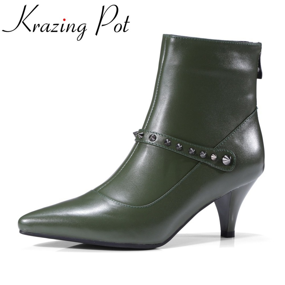 Krazing Pot new arrival superstar genuine leather high heel pointed toe zipper winter boots elegant sexy runway ankle boots L86