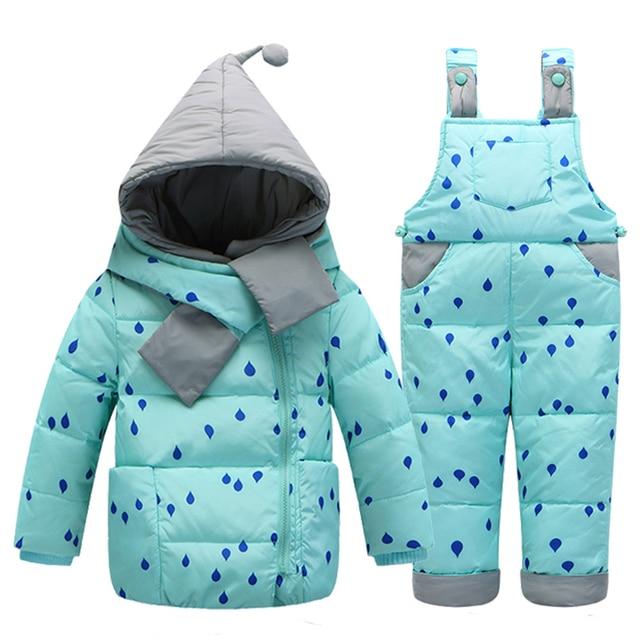 Дети мальчики девочки зимой теплый пуховик костюм комплект толстый слой + комбинезон детская одежда установить дети куртка с капюшоном с шарфом
