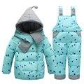 Crianças meninos meninas inverno quente para baixo paletó ajustado grosso casaco + macacão roupa do bebê Set crianças jaqueta com capuz com lenço