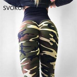 Image 3 - SVOKOR Camo drukowanie Fitness legginsy damskie spodnie z wysokim stanem poliester wygodne trening Push Up moda damska legginsy