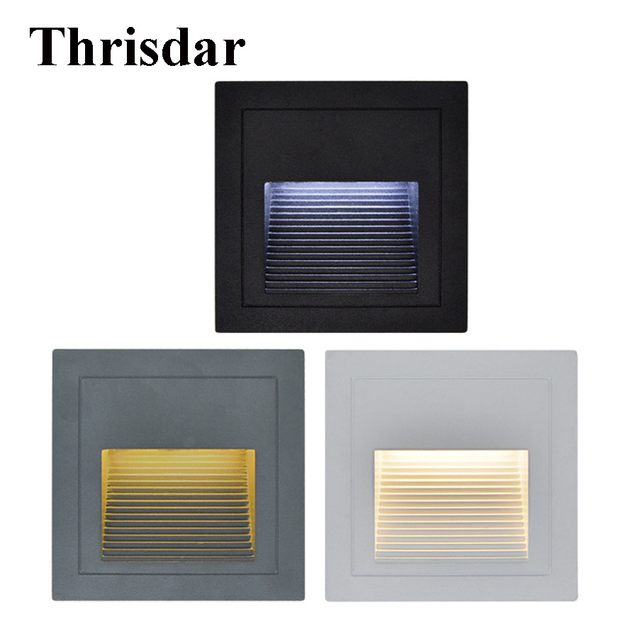 10PCS 1W 3W Outdoor Recessed Led Stair Step Light Corridor Aisle Wall Corner Light Landscape Buried