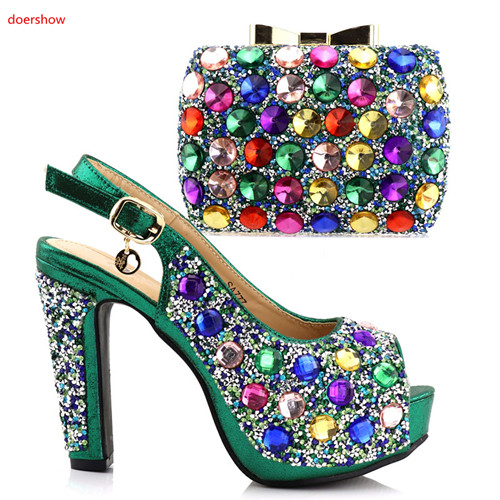 doershow Nigerian Style Shoes And Matching Bags Latest Italian Shoes With Bags To Match Shoes Set For Wedding Dress!HAA1-22