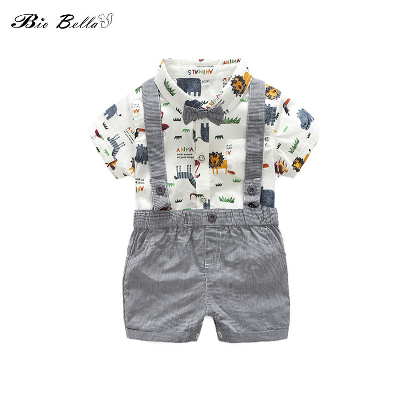 Summer Boys Clothing Sets Kids Boy Clothes Cute Animal Printed Shirts+Bibs Shorts 2PCS Gentleman Suit With Bow Tie