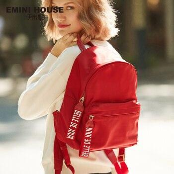 EMINI HOUSE Letter Element Waterproof Nylon Backpack Multifunction Women Backpack Backpacks For Teenage Girls School Bag Fashion Backpacks