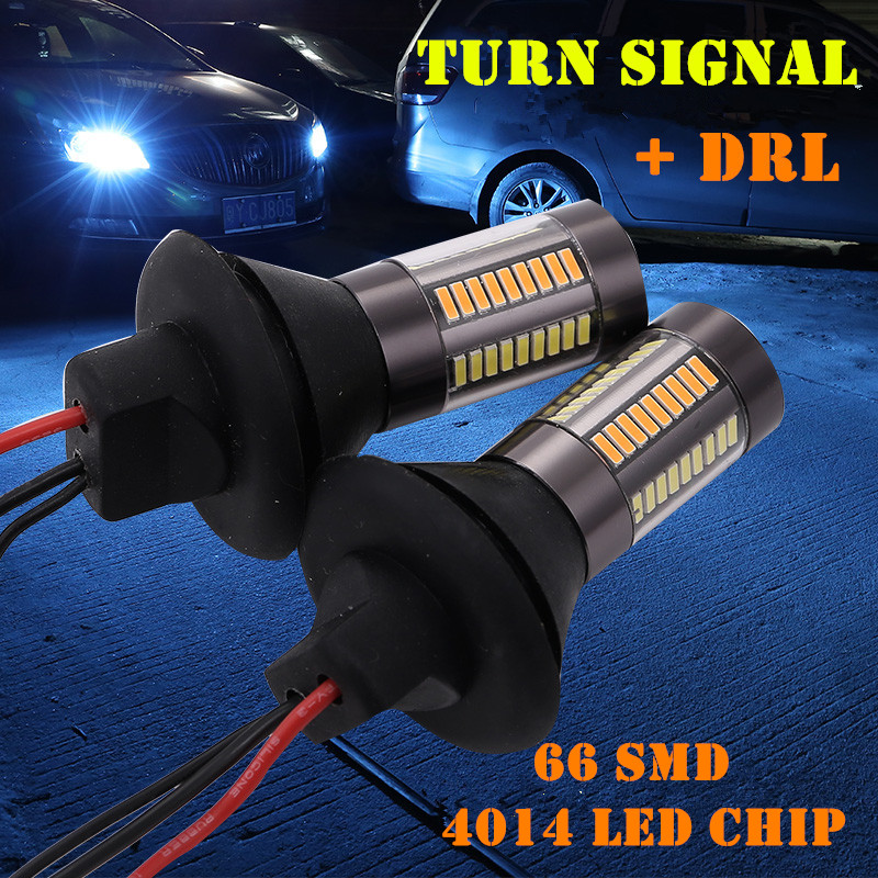 2PCs 1156/BA15S/P21W BAU15S/PY21W <font><b>T20</b></font> T25 4014-66SMD Car <font><b>LED</b></font> Dual Color Turn Signal <font><b>DRL</b></font> Daytime Running Light Canbus Error Free image