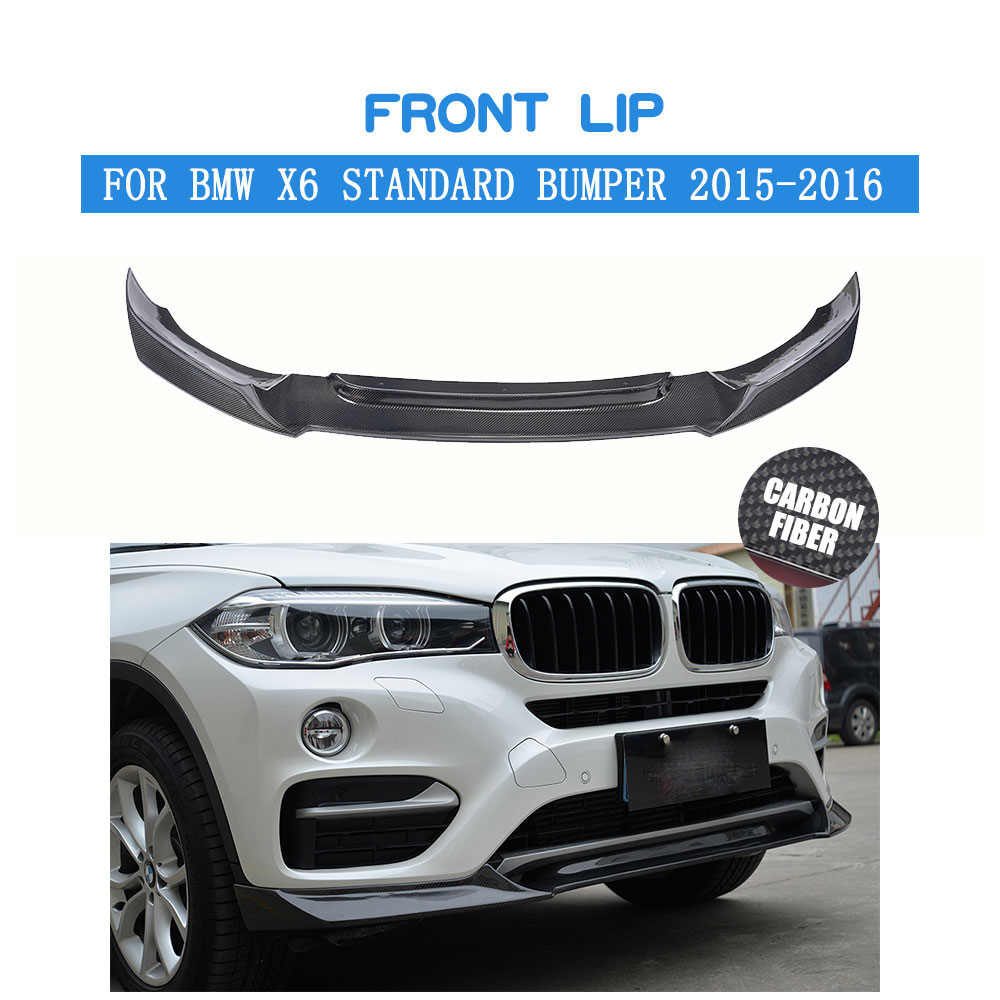 Углеродного волокна передний спойлер для BMW X6 Стандартный бампер 2015 2016 P Стиль передний бампер splitter губы комплект