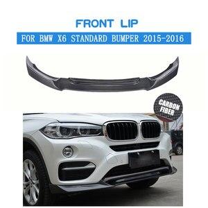 Fibra de carbono frente spoiler para bmw x6 padrão amortecedor 2015 2016 2017 divisores do amortecedor dianteiro kit lábio|front lip spoiler|bumper splitter|front bumper splitter -