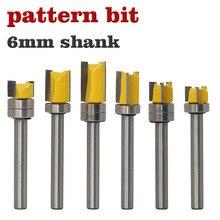 1pc łożysko Flush frez do przycinania drewna 6mm Shank prosto bit wolframu narzędzie do frezowania drewna