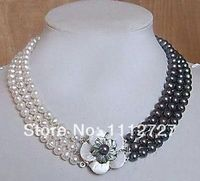 New Natural Jewelry Beads 7-8mm White Black Akoya Cultured Pearl Necklace DIY Mother's Day gifts Fashion Jewelry Wholesale Price