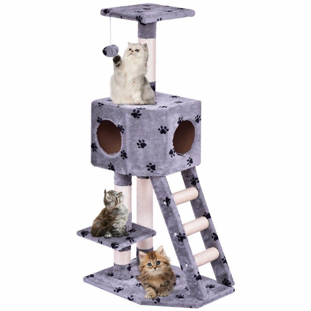 Zonnig Goplus Huisdier Kat Boom Speelhuis Toren Condo Bed Scratch Post Kitten Huisdier Huis Toren Hout Kat Klimrek Ps7001