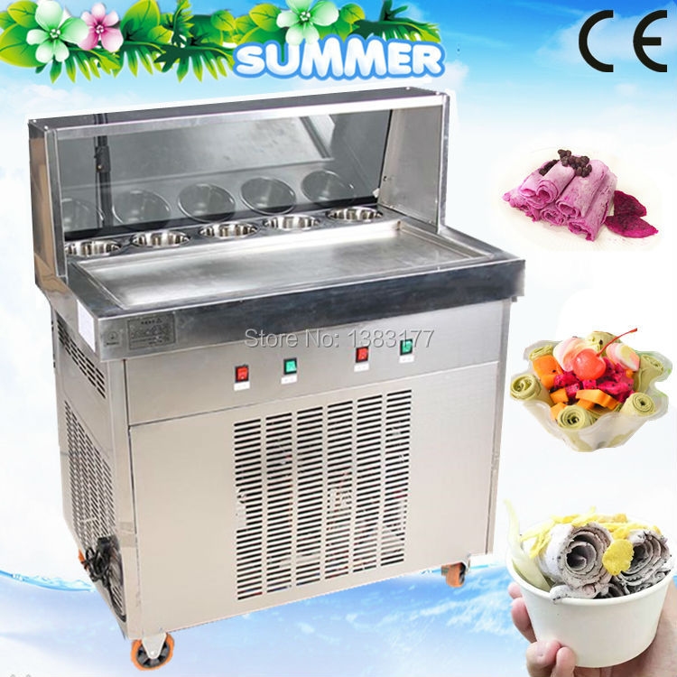 Free ship CE 70CM single pan with 5 cooling buckets fried ice cream roll machine thai ice pan machine ice slush machine for sale 2017 ce approved thai style fried ice cream roll machine single pan fry ice machine fast cooling ice pan machine with dust cover