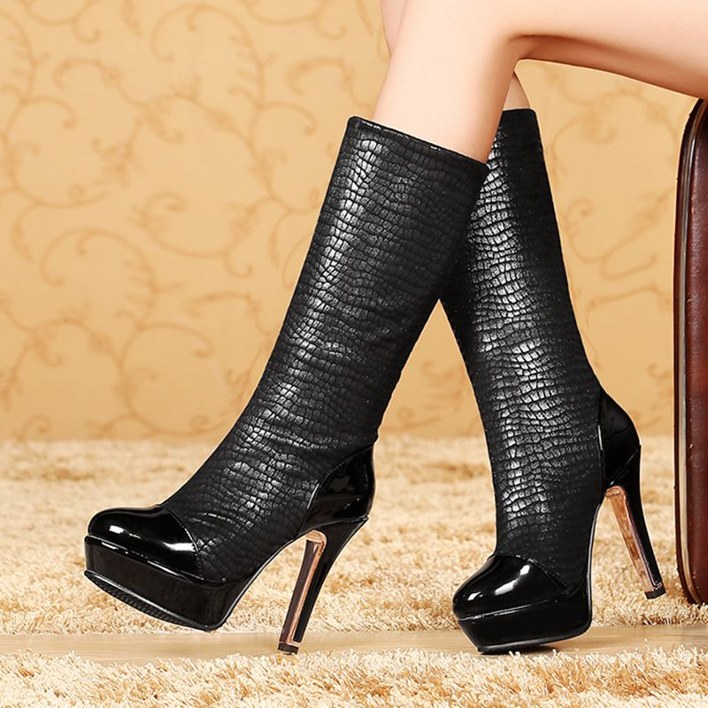3e5b03888ae QPLYXCO 2017 New Big and small Size 30 48 Genuine Leather winter Boots  shoes Women s warm knee high Boots thin High Heel 5203 3-in Knee-High Boots  from ...
