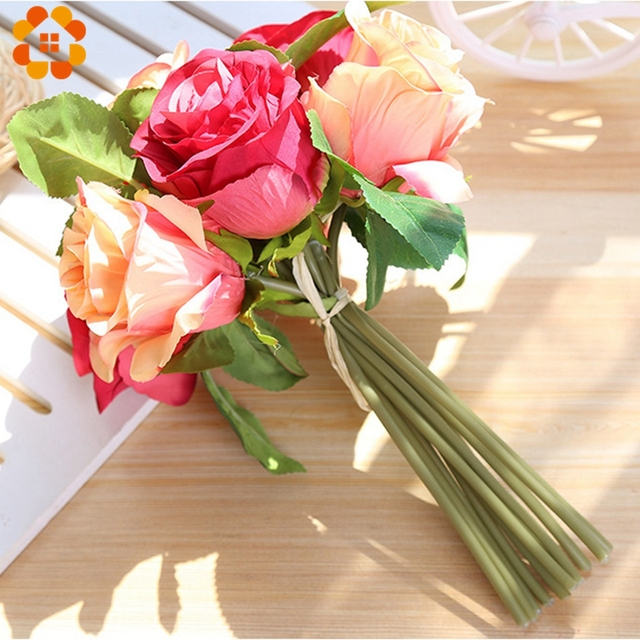 Aliexpress buy 7headsbranch decorative rose flower bouquet 7headsbranch decorative rose flower bouquet artificial silk flower for wedding birthday party home garden mightylinksfo