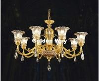 무료 배송 유럽 황동 크리스탈 샹들리에 현대 구리 lingts 고급스러운 황동 크리스탈 램프 광택 서스펜션 조명