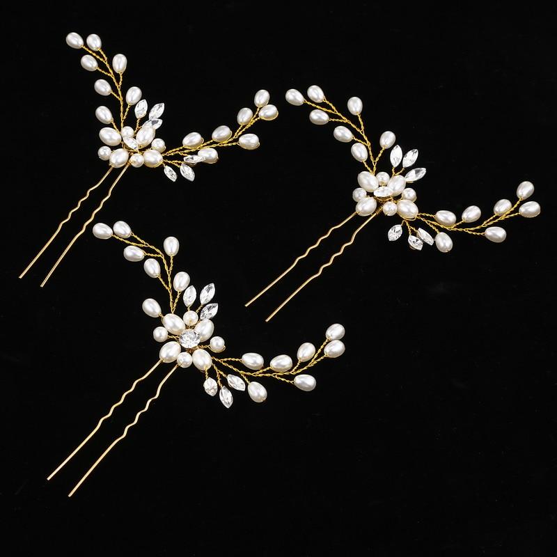 Crystal Hairpins Hair-Accessories Wedding-Jewelry Flower Bride Beaded Gift Handmade 3pcs/Set
