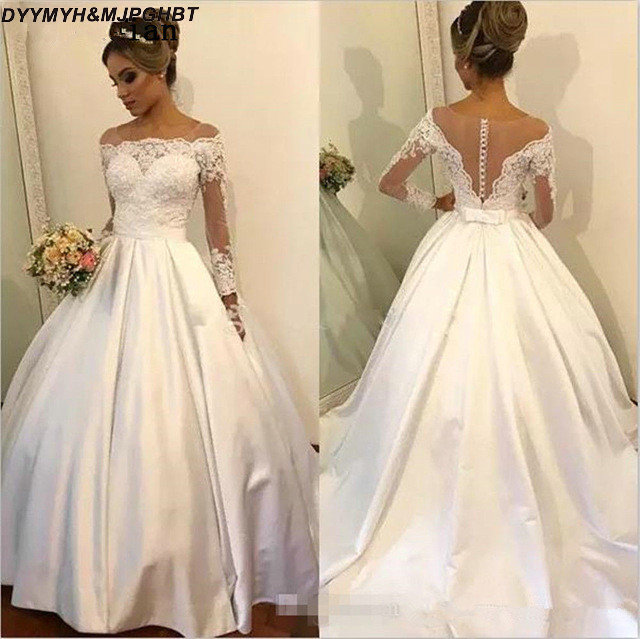 Illusion Long Sleeve Satin Wedding Gowns 2019 Off Shoulder Cover