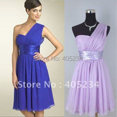 Blue Color Bridesmaid Dress Purple Birdesmaid Gown Short One Shoulder In Dresses From Weddings Events On Aliexpress