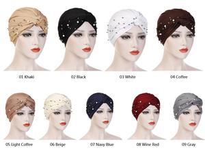 Image 2 - Muslim Women Beads Elastic Turban Hat Chemo Cap Hijab Arab Head Scarf Wrap Cover Beading Headscarf Knot Pleated Cap Hair Loss