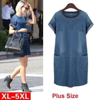 0cea489054290a3 Для женщин Европа Новые летние большие размеры джинсовый сарафан Свободные  повседневные джинсы платье Elbise Sukienka жира мм C
