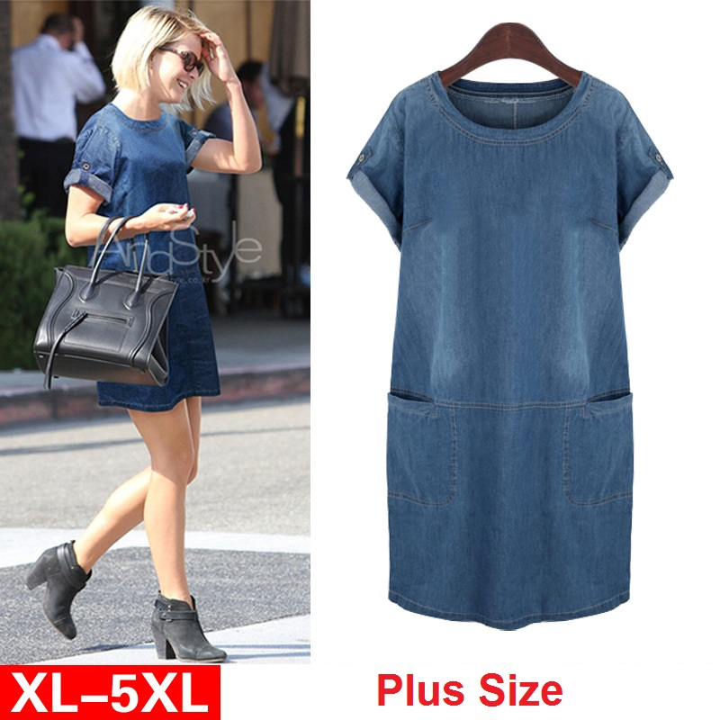 Women Europe Summer New Larger Plus Size Denim Sundress Loose Daily Jeans Dress Elbise Sukienka Fat MM C