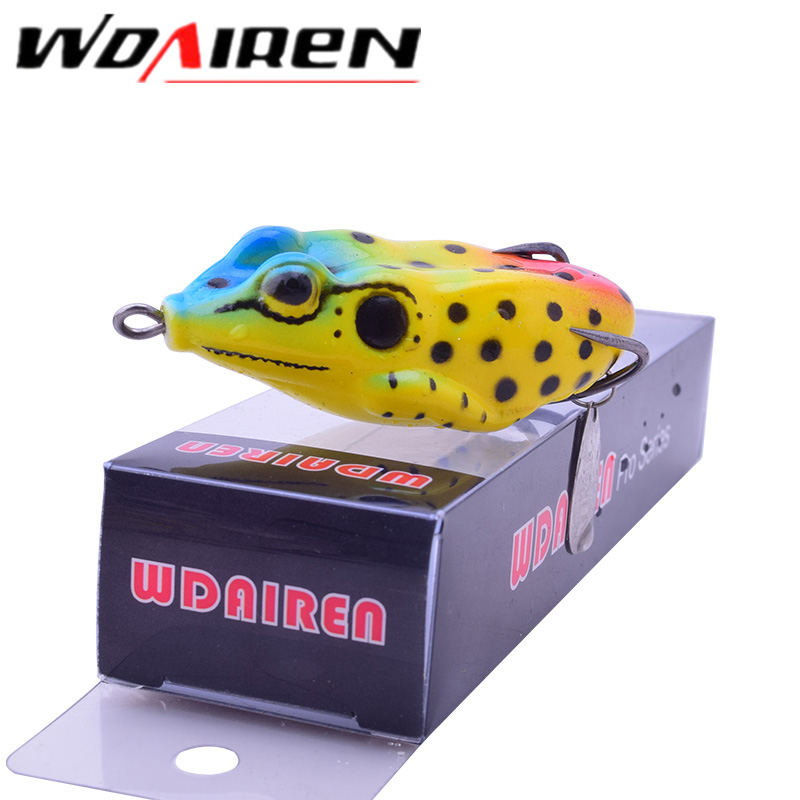 WDAIREN Rotate Metallic sequins Live Target Frog Lure 6cm/11g 1Pcs Snake head bait Topwater Simulation Frog Fishing Lures WD-066