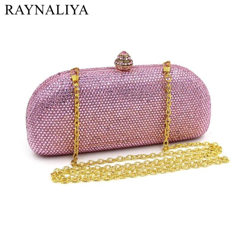Fashion Pink Evening Bags Crystal Clutch Purse Mini Bag Women Metal Chain Small Designer Wedding Bridal Bag Smyzh-f0142