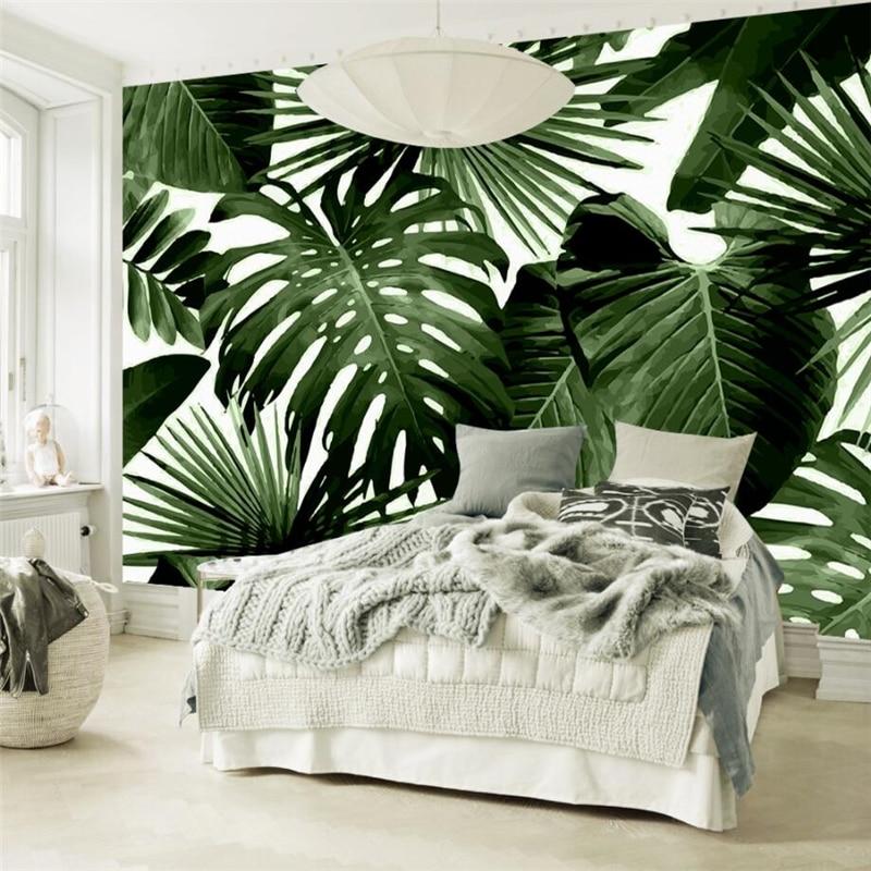 Купить с кэшбэком beibehang Custom 3d Wall paper Vintage Rainforest Palm Banana Leaf Fresco Sofa Living Room Bedroom Tv Background Wall