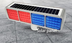 Solar flash lamp, integral barricade strobe,LED red and blue flash, construction signal warning light