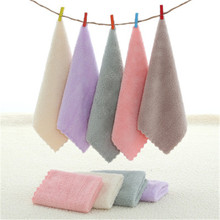 SBB 25*25cm solid fast dry Coral Hand Towel Kerchief wholesale Home Cleaning kitchen hangs the towel clean bibulous