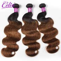 Celie-mechones de pelo ondulado brasileño, mechones de pelo de color degradado 1B 30, pelo brasileño Remy, 3 mechones