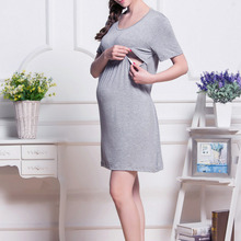 Brief Pregnant Women Breastfeeding Dresses Women Feeding Dresses Maternity Women Dress Maternity Wear Nursing Clothes 3Colors