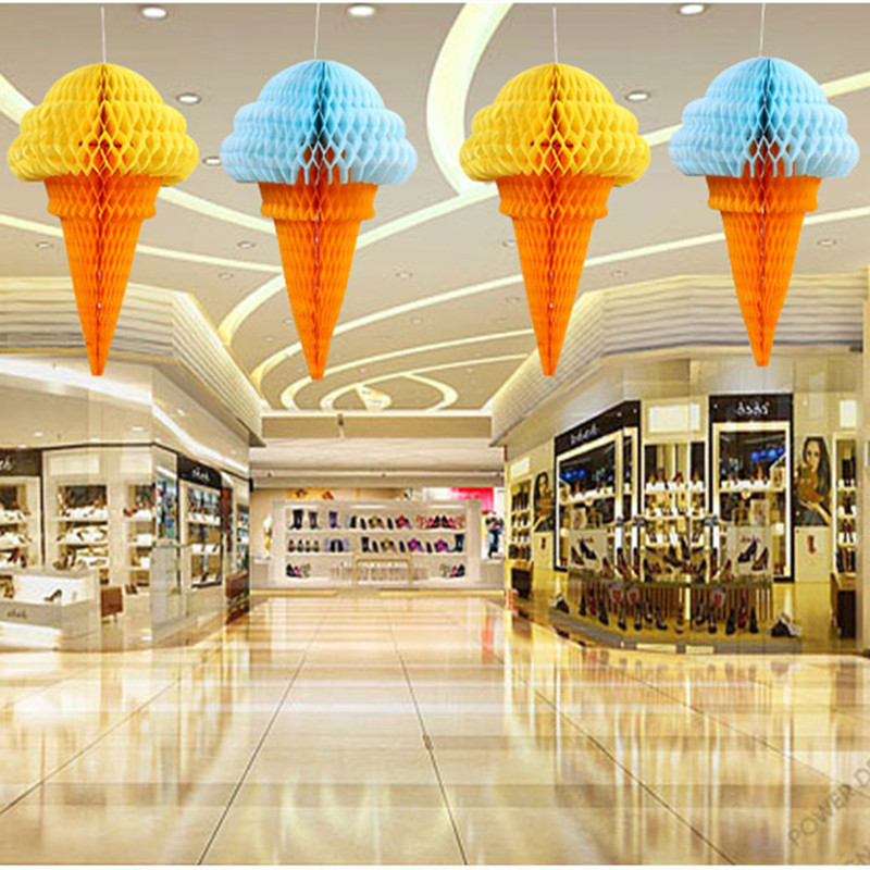 Ice Cream Palle A Nido D'ape Lanterne Di Carta Pompon Decorazioni Di Nozze Supermercati Acquisto Mercati Ghirlanda Decorazione Saldi Estivi Speciali